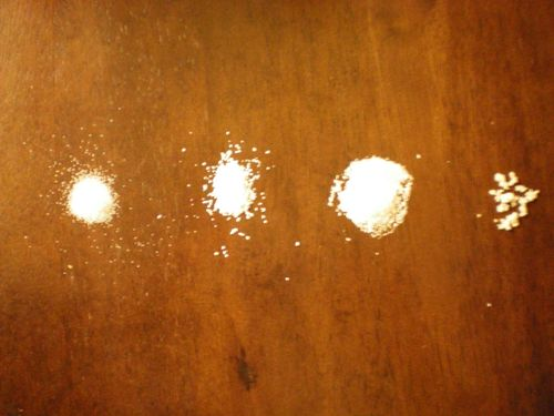 From left to right: table salt, kosher salt, fine sea salt and French grey sea salt. I don't have the best camera, but you can still really see the differences in texture.
