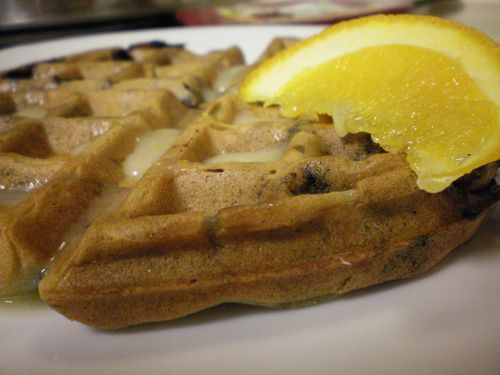 Blueberry Waffles with Orange Icing